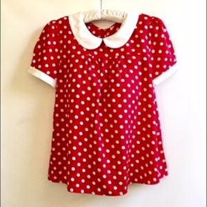 Minnie Mouse Red & White Polka Dot Womens Blouse M
